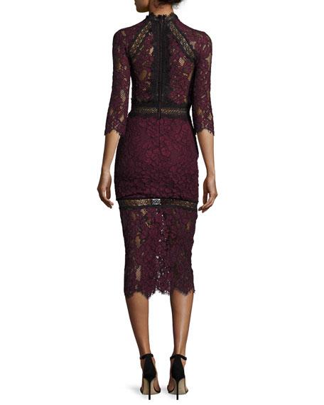 Alexis Marisa Half-Sleeve Lace Midi Dress, Plum