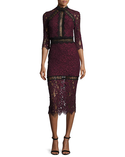 Marisa Half-Sleeve Lace Midi Dress, Plum