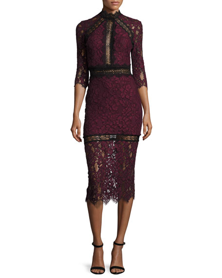 Marisa Half-Sleeve Lace Midi Dress, Plum