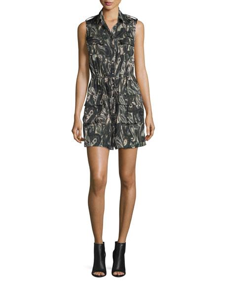 Haute Hippie Sleeveless Silk Paisley Cargo Dress, Camo
