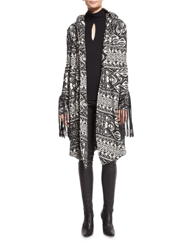 Multipattern Hooded Leather-Trim Coat, Black/White