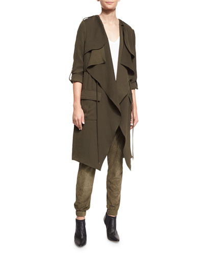 Overlay Flare Trench Coat, Military