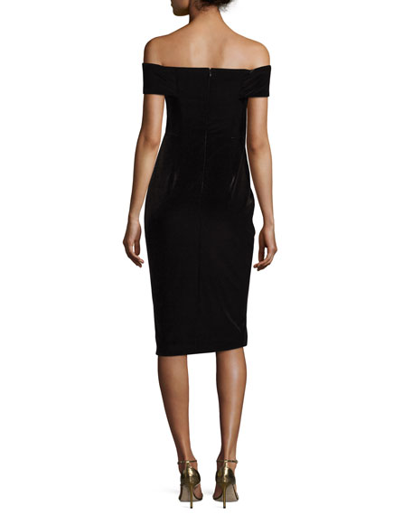 Velvet Off-the-Shoulder Sheath Dress