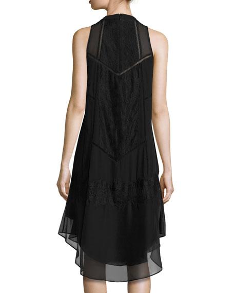 Romance Sleeveless Lace-Trim Shift Dress, Black