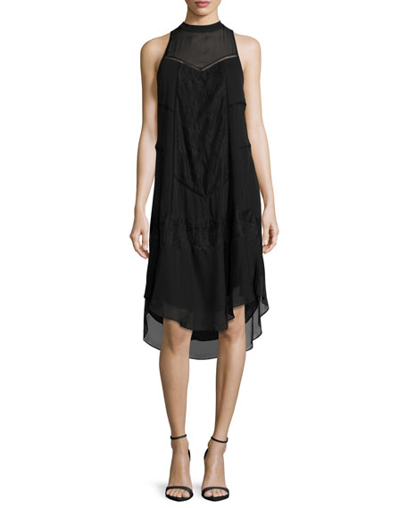 Haute Hippie Romance Sleeveless Lace-Trim Shift Dress, Black