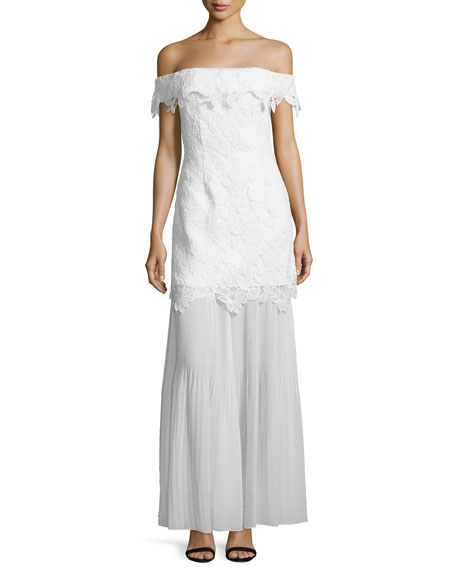 Off-the-Shoulder Guipure Lace Bridal Gown, White