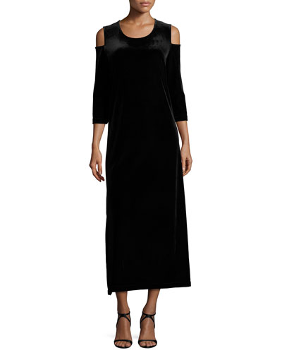 3/4-Sleeve Cold-Shoulder Velvet Maxi Dress, Black, Plus Size
