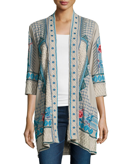 Tansy Duster Embroidered Cardigan, Plus Size