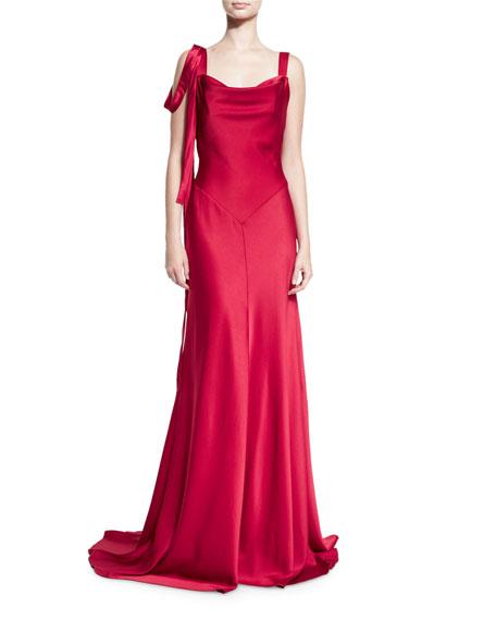 Theia Sleeveless Satin Draped Gown, Red