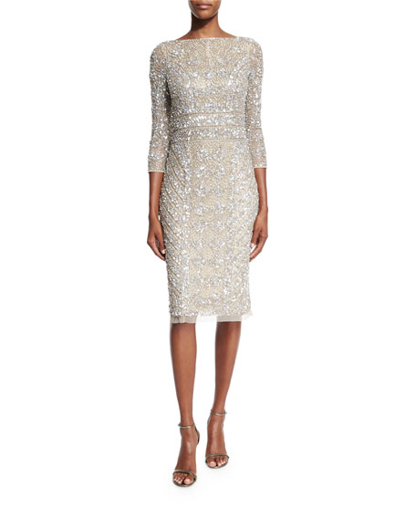 3/4-Sleeve Embellished Sheath Dress, Platinum