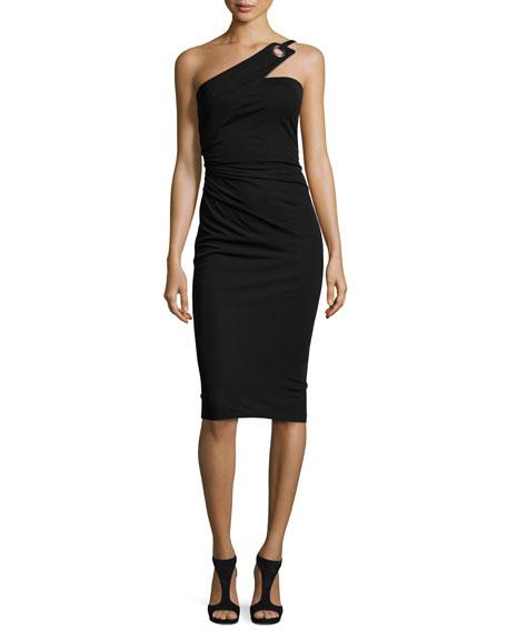 David Meister One-Shoulder Grommet Sheath Dress, Black