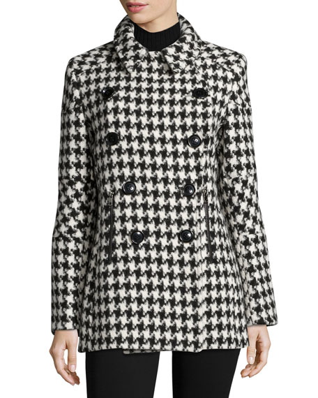 Double-Breasted Houndstooth Peacoat, White/Black