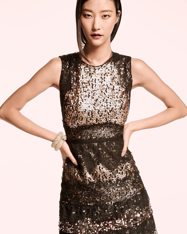 Kobi Halperin Sleeveless Tiered Lace & Sequin Cocktail Dress, Gold ...