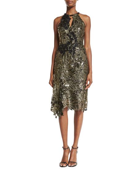 Kobi Halperin Sleeveless Floral Keyhole Cocktail Dress, Black/Gold
