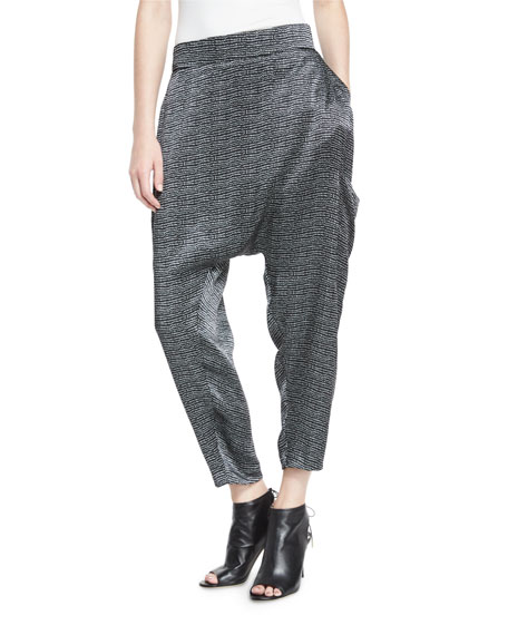 Eileen Fisher Printed Silk Cropped Harem Pants, Black