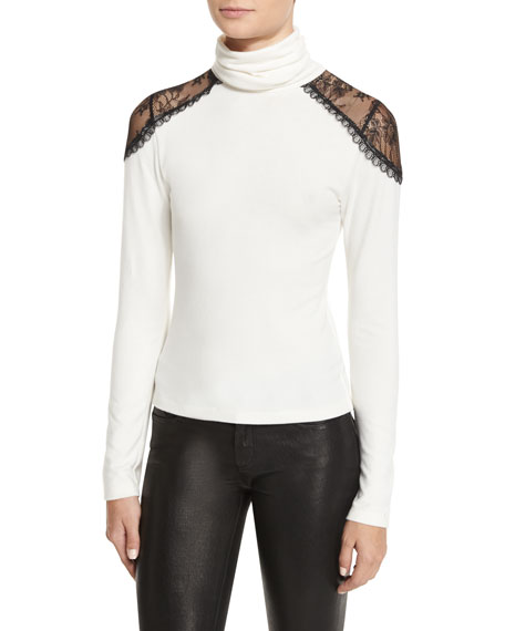 Alice + Olivia Krystalle Lace-Shoulder Turtleneck, Black/White