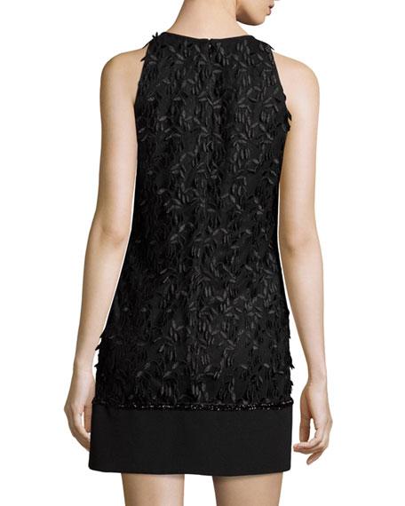 Carmen Marc Valvo Sleeveless Floral Leaf Shift Dress, Black
