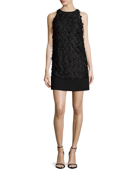 Carmen Marc Valvo Sleeveless Floral Leaf Shift Dress,