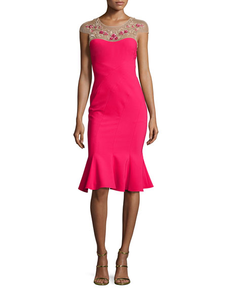 Cap-Sleeve Embroidered Flounce Dress, Magenta