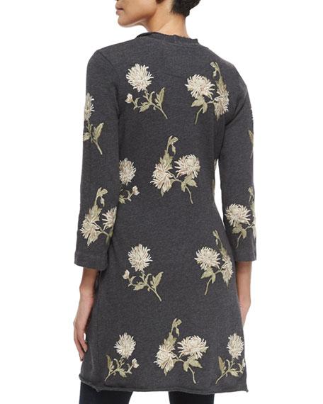 Margarit Flower-Embroidered Waist-Tie Cardigan, Plus Size