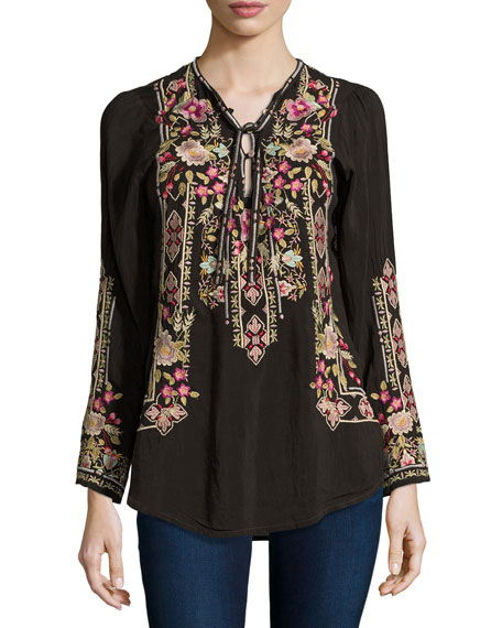Johnny Was Fabio Embroidered Blouse, Dark Cocoa, Plus