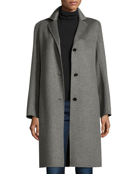 Cashmere Coat with Detachable Fur Collar Buy