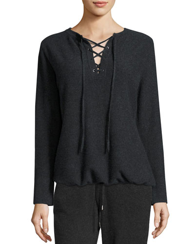 Cashmere Lace-Up Top Compare Price