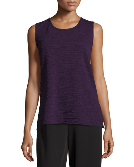 Caroline Rose Textured Knit Tank Top, Plum