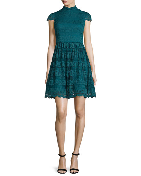 Alice + Olivia Maureen Lace Open-Back Party Dress,