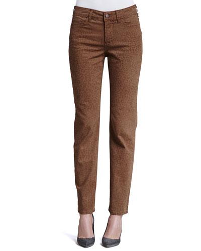 Sheri Cheetah-Print Skinny Jeans, Nutmeg