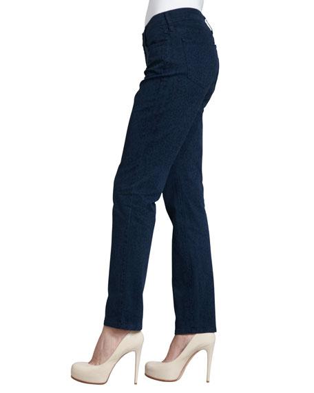 Sheri Cheetah-Print Skinny Jeans, Heritage Blue