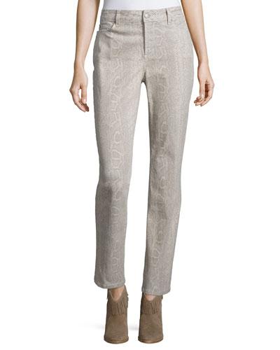 Sheri Python-Print Skinny Pants, Stone