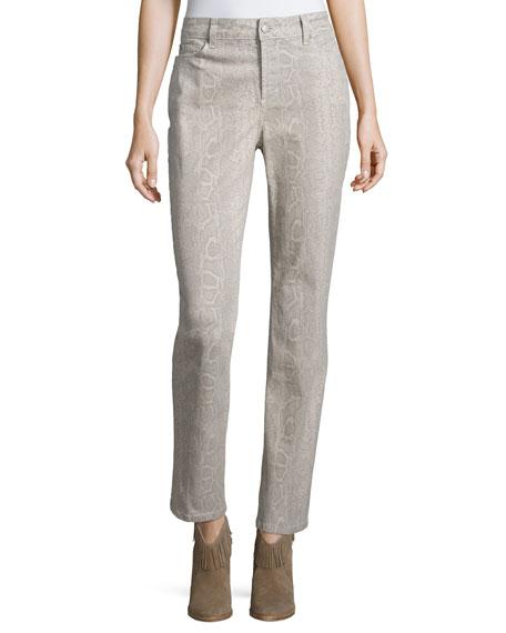 NYDJ Sheri Python-Print Skinny Pants, Petite, Stone Gray