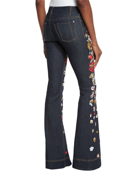 Alice olivia ryley embroidered low rise bell bottom jeans