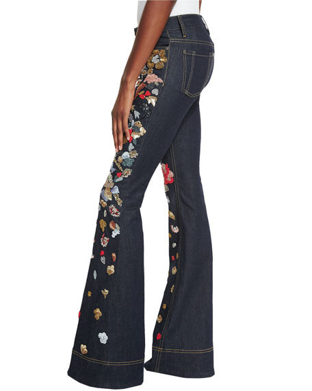 Ryley Embroidered Low-Rise Bell-Bottom Jeans