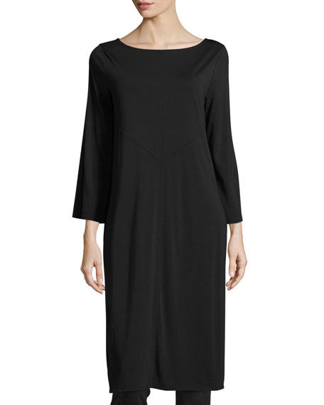 Joan Vass 3/4-Sleeve Ponte Tunic/Dress, Petite