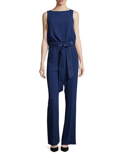 Sleeveless Belted Crepe Jumpsuit, Indigo