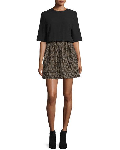 Demy Combo Short-Sleeve Dress