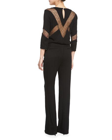 Sake Lace-Inset 3/4-Sleeve Jumpsuit, Black