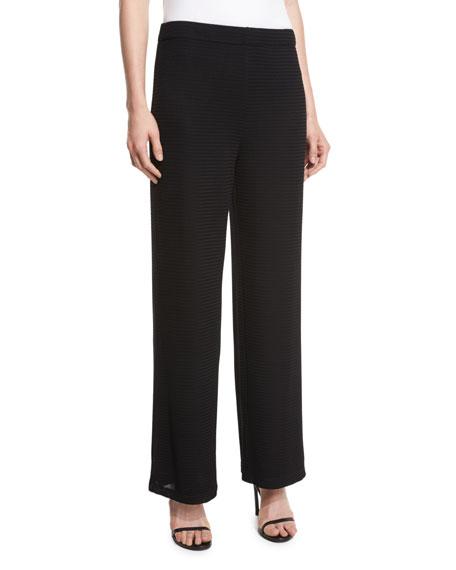 Joan Vass Striped-Sleeve Back-Zip Top & Pants, Petite