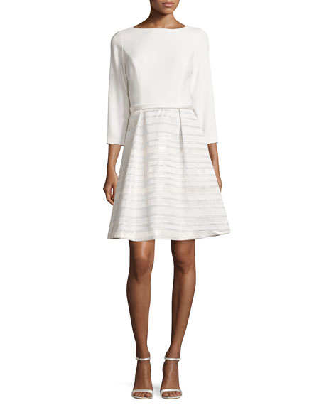 Theia Fit and Flare Dress with Party Skirt,