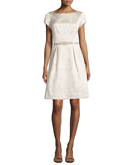 Theia SS Boat Neck Party Dress, Cream