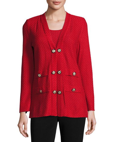 Textured Straight-Cut Knit Jacket