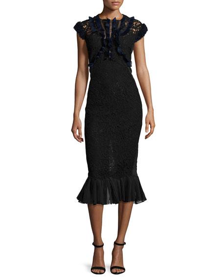Rebecca Taylor Vien Lace Midi Dress, Black/Navy