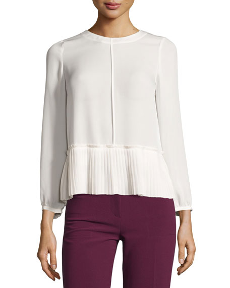 Rebecca Taylor Georgette Pleated-Hem Top, Chalk