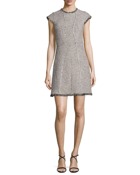 Structured Tweed Dress w/Fringe Trim