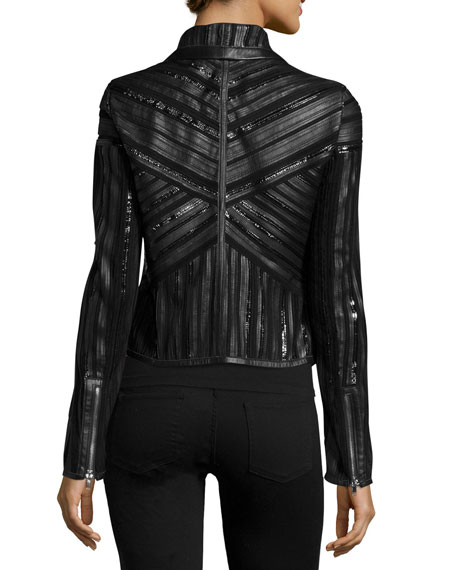 Neiman Marcus Cropped Leather Strip Combo Jacket, Black