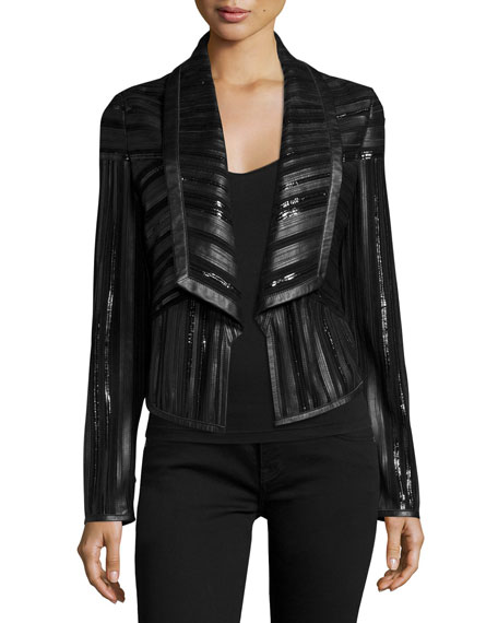 Neiman Marcus Cropped Leather Strip Combo Jacket, Black ...