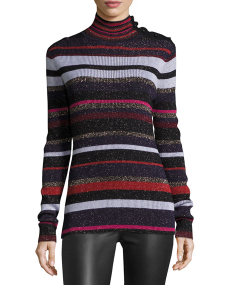 Diane von Furstenberg Leela Metallic Button-Neck Sweater, Royal