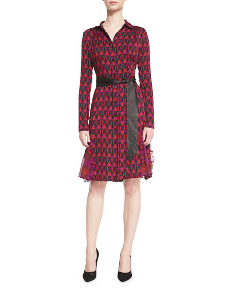 Diane von Furstenberg New Catherine Leather-Belted Shirtdress,